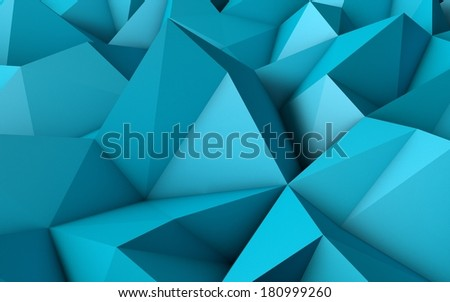 Abstract Blue Low Poly 3D Background - Polygonal Render - stock photo
