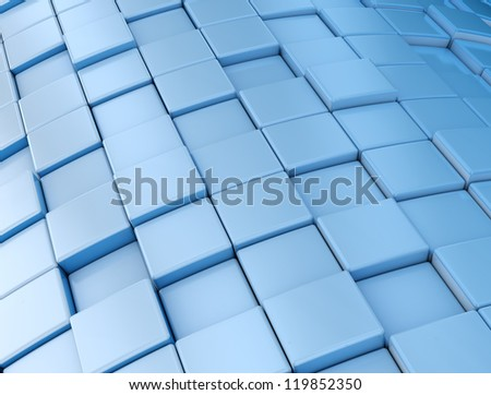 Abstract blue metallic cubes