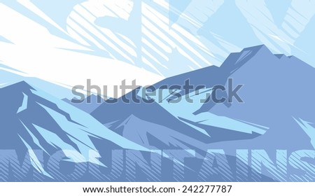 Abstract blue mountains