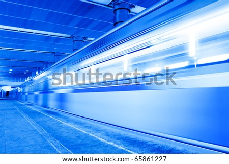 abstract blue moving train