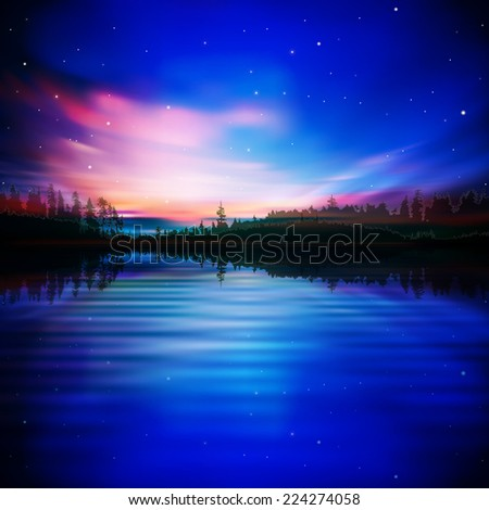 abstract blue nature background with pink sunrise - stock photo