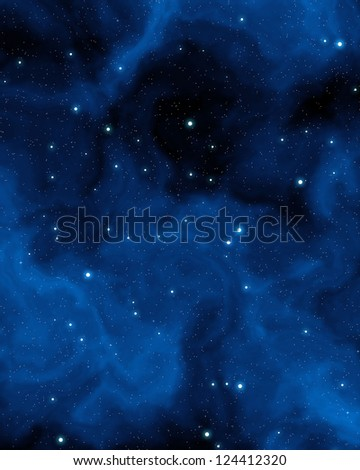 abstract blue nebula and stars