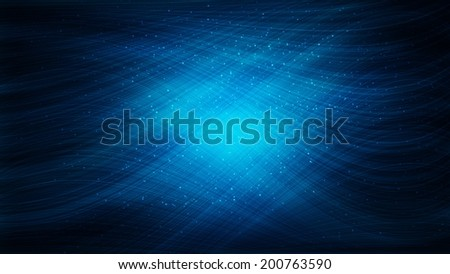 Abstract blue neon background with circles and lines - stock photo