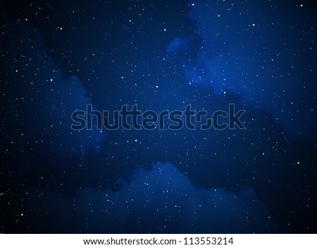 Abstract blue night sky with stars - stock photo