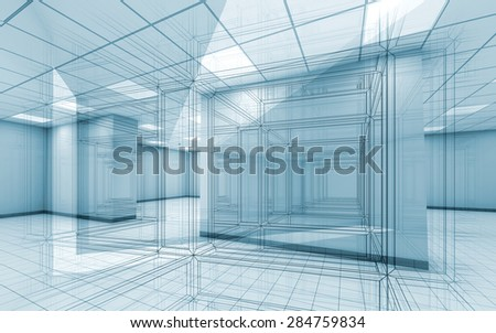 Abstract blue office room interior background with wire-frame lines, 3d illustration
