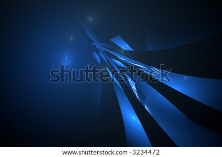 Abstract blue over black background - concept of flight, future, space and science - stock photo