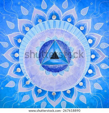 abstract blue painted picture mandala of Vishuddha chakra - stock photo