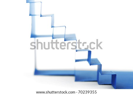 abstract blue paper composition with stairs side view