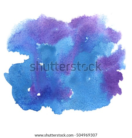 abstract blue purple watercolor splash. watercolor drop isolated blot for your design
