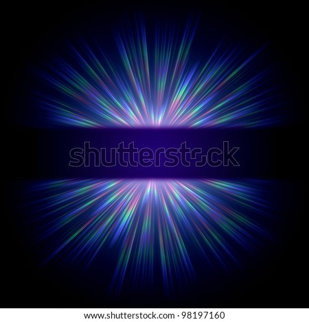 abstract blue ray lights  over dark gradient