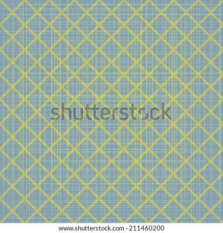 Abstract blue seamless pattern with yellow mosaic. Abstract vintage background for your design