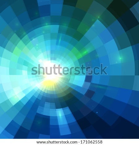 Abstract blue shining circle tunnel lined background - stock photo