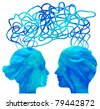 Abstract blue silhouette of couple heads thinking, relationship concept - stock