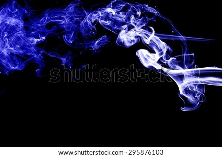 Abstract blue smoke on black background, blue background,blue ink background
