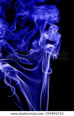 Abstract blue smoke on black background, blue background,blue ink background,beautiful color smoke