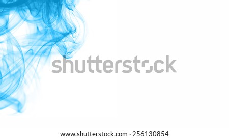 Abstract blue smoke on white. - stock photo