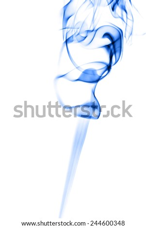 Abstract blue smoke on white background. - stock photo