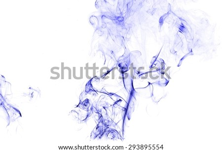 Abstract blue smoke on white background, blue background,blue ink background - stock photo