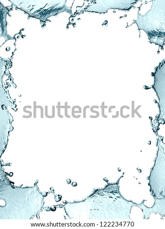 Abstract blue splashing water as picture frame on white background - stock photo