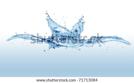 Abstract blue splashing water isolated on white background - stock photo