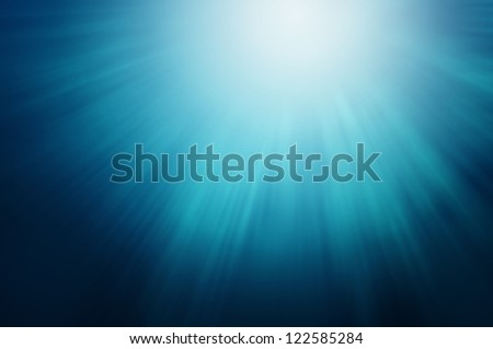 Abstract Blue Sun Lights Under Water - stock photo