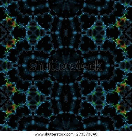 Abstract blue thorny transparent pattern made seamless - stock photo