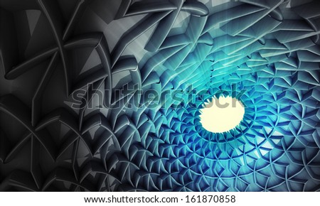 abstract blue three dimensional holy eye sanctuary background illustration - stock photo