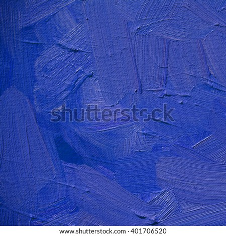 abstract blue ultramarine painting by oil on canvas, illustration, background - stock photo