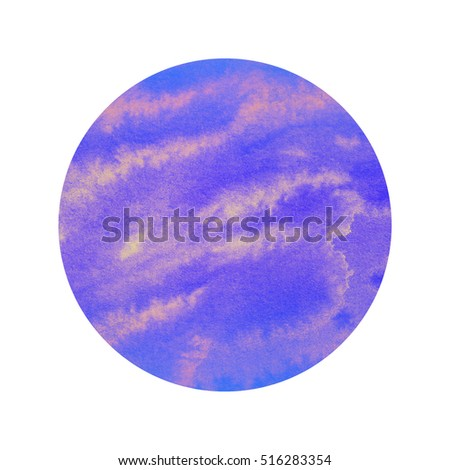 Abstract blue violet watercolor circle