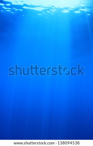 Abstract Blue Water Background Underwater Vertical - stock photo