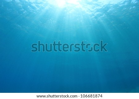 Abstract blue water background with sunbeams - stock photo
