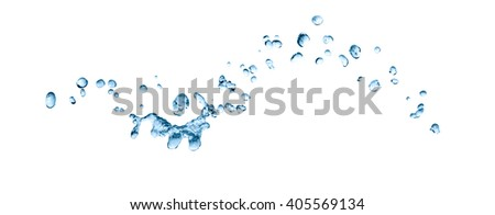 Abstract blue water drops on white background - stock photo