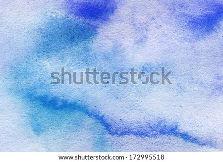 Abstract blue watercolor art background - stock photo