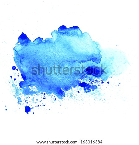 Abstract blue watercolor blot background  - stock photo