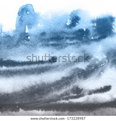 Abstract blue watercolor blot background