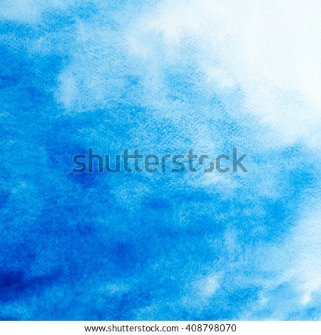 Abstract blue watercolor brushed texture background. - stock photo
