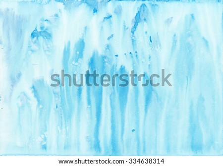 Abstract blue watercolor drips. Painting background texture.