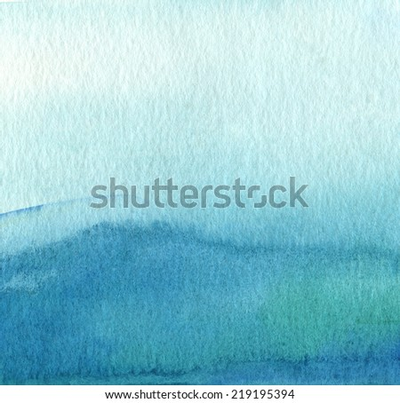 Abstract blue watercolor hand painted background. Textured paper. - stock photo