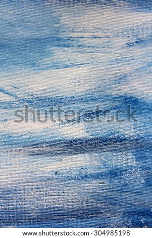 Abstract Blue Watercolor on Canvas 1 - stock photo