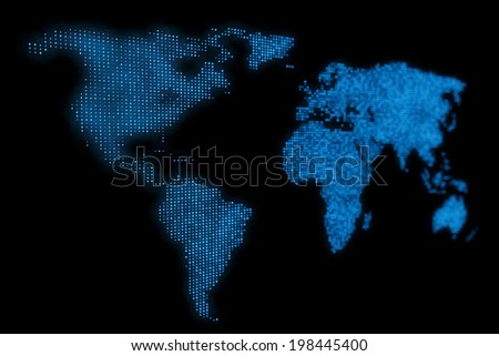 Abstract Blue World Map Design Background - stock photo