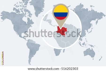 Abstract Blue World Map Magnified Colombia Stock Illustration