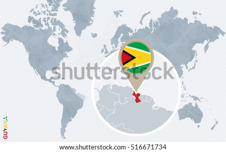 Abstract blue world map with magnified Guyana. Guyana flag and map. Raster copy.