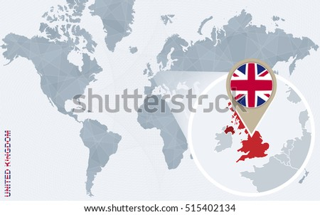 World map magnified united kingdom united vectores en stock abstract blue world map with magnified united kingdom uk flag and map raster copy gumiabroncs Image collections