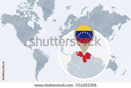 Abstract Blue World Map Magnified Venezuela Stock Illustration ...