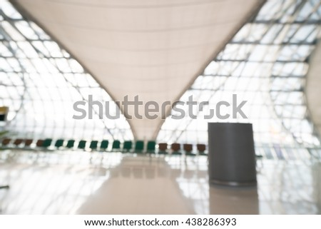 Abstract blur airport terminal interior for background
