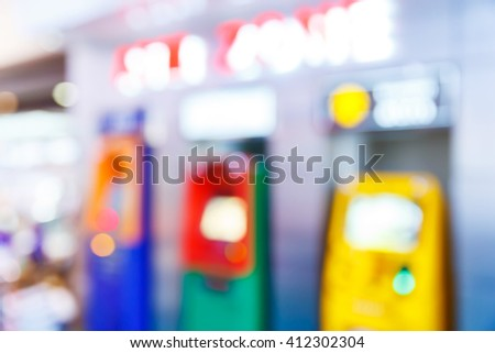 Abstract blur atm or automatic teller machine, fast cash withdrawal concept - stock photo
