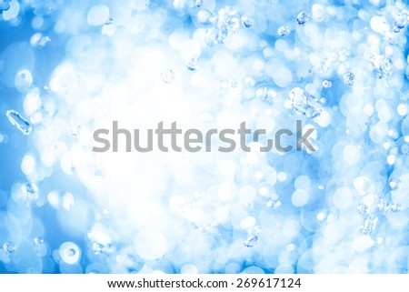 Abstract blur background blue color with drops of water splash