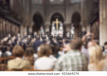 abstract blur background of a band is singing with audience in a church - stock photo