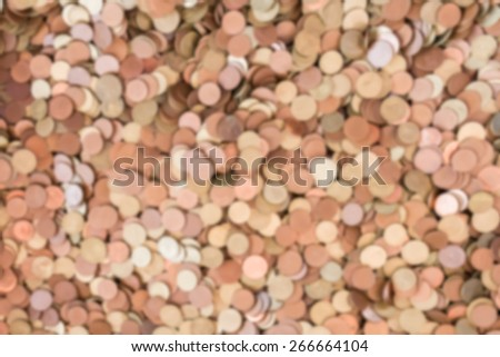 Abstract blur background of different coins. - stock photo