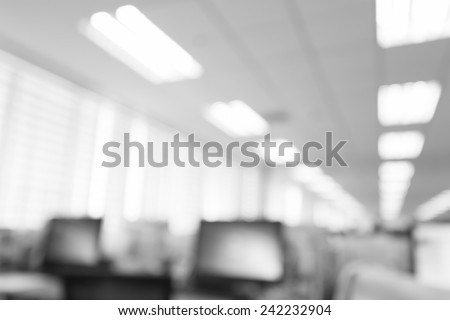 abstract blur background table work in office with computer pc - stock photo